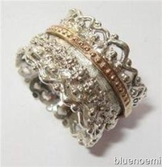 Spinner ring silver and gold lace design  --such a COOL RING!!!--