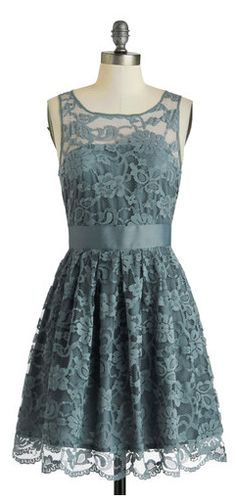 Dusty Blue Lace Dress