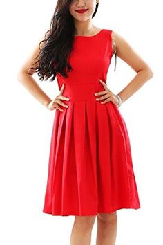 Womens Vintage Cocktail Dress Crew Neck with Belt Size XS Red * Visit the image link more details. Best Casual Dresses, Cheap Dresses, Party Looks, Chic Dress, Swing Dress, Spring Garden, Vintage Ladies, Gowns, Cocktail