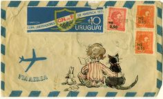 mail art. Claire Fletcher artwork (inspiration: kid reading has thought bubble w address)