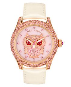 Betsey Johnson Watch, Women's White Leather Strap BJ00019-17 - Women's Watches - Jewelry & Watches - Macy's
