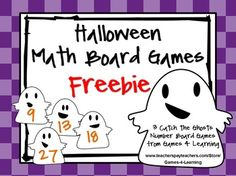 FREEBIE - Halloween Math Board Games from Games 4 Learning give you 3 Board Games that are perfect for Halloween math activities.