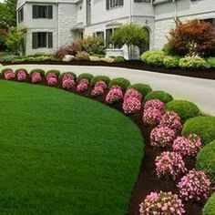 33 Amazing Front Garden Landscaping Ideas Fresh Looks - Designing a front yard is usually about accessibility and invitation. We spend hardly any time in the front yard as opposed to the backyard, but it is. Front Yard Garden Design, Front Garden Landscape, Small Garden Design, Front Yard Landscaping, Mulch Landscaping, House Landscape, Flower Landscape, Landscaping Borders, Landscape Bricks