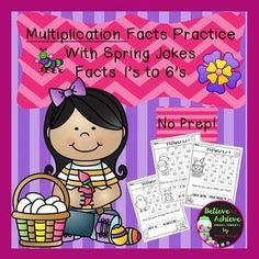 Multiplication Fact Practice (1's to 6's) with Spring Jokes!  Your students will LOVE working on their multiplication facts and finding the answers to the Spring jokes! This set contains 6 pages total ( 1 page per fact) and the answer keys!