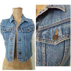 Vintage 80s Levi's Jean Vest Size Small Blue Denim Womens Cropped 6015 #Levis