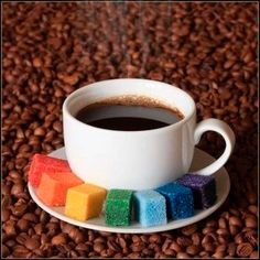 COLORful sugar cubes . . . make your coffee happy!