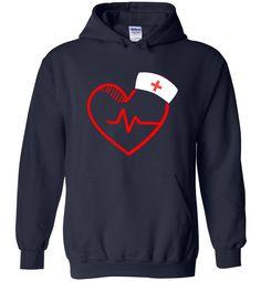 Nursing Gift Graphic Shirt Nurse Heartbeat Love - Hoodie