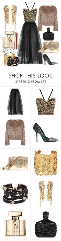 """(Gold & Black) SVR"" by svrrvs ❤ liked on Polyvore featuring Elie Saab, Dolce&Gabbana, Missoni, Philipp Plein, Jimmy Choo, Aurélie Bidermann, Versace, Loewe, Gucci and John Varvatos"