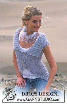 DROPS Jacket with neckpiece in Vivaldi  Free pattern by DROPS Design.