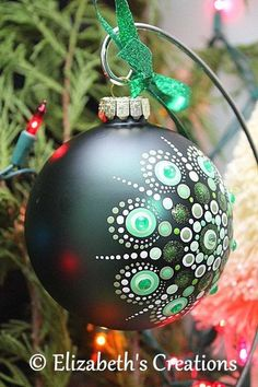 Hand Painted Mandala Christmas Ornament With Rhinestones, Christmas Glass Ornament, Mandala Christmas Ornament, Gift exchange, Mandala Art Glass Christmas Tree Ornaments, Painted Ornaments, Christmas Bulbs, Dot Art Painting, Mandala Painting, Mandala Dots, Mandala Pattern, Christmas Mandala, Polka Dot Art