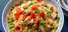 Rijstepot met erwten, sperziebonen en varkenspoulet - voedingscentrum