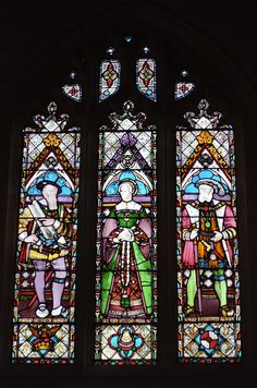 Stained glass window of Katherine Parr with Henry VIII (right) and Thomas Seymour (left), her third and fourth husbands.