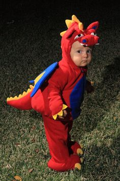 This is so adorable! A little red dinasour on the go!