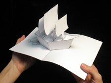 Robert Sabuda, the master of pop-up book creation, offers up a set of step-by-step directions for creating this ship model. This would be a great craftivity for a unit on explorers. Arte Pop Up, Pop Up Art, Cuento Pop Up, Tarjetas Pop Up, Paper Pop, Paper Engineering, Bookbinding, Diy Cards, Card Templates