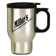 Two Styles One Price! Here's a full 16 ounce bargain mug! Pick your favorite style! A stainless steel coffee mug with black PVC liner and foam insulated (not double-wall).