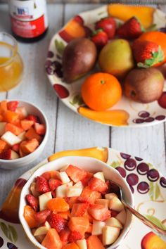 fruit salad,orange vanilla syrup