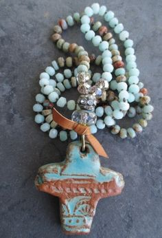 Knotted semi precious stone long cross necklace Old by slashKnots, $205.00