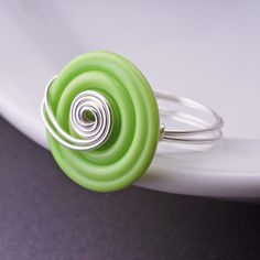 Lime Green Jewelry Neon Green Ring Sterling di georgiedesigns