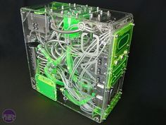 Clear pc case mod, green