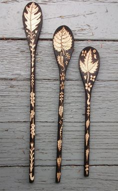 3 custom monogrammed spoons-oak aspen maple leaf acorn night forest style, oak design, woodburning.