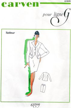 Vintage French Couture sewing pattern, patron de couture, 61828 Carven pour Ligne G taille 38-44 by FrenchVintageLife on Etsy