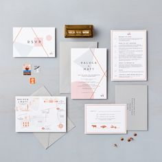 Mid century modern geometric bespoke wedding stationery by Lucy says I do for a . - Mid century modern geometric bespoke wedding stationery by Lucy says I do for a London wedding with - Wedding Invitation Inspiration, Beach Wedding Invitations, Wedding Stationary, Modern Wedding Stationery, Event Invitations, Invitation Templates, Invitation Design, Wedding Inspiration, Wedding Details Card