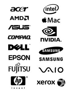 Free Logos Vector Brands  Acer, Intel, AMD, Apple Mac, Asus, Compaq, Nvidia, Dell, SamSung, Epson, Fujitsu, Vaio, HP invent, Xerox, Hewlett-Packard  In the zip-archive set includes Brands vector file: * .svg , *.pdf