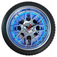 Found it at Wayfair - Neon Tire Wall Clock in Blue