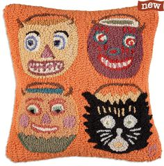 New Zealand Wool Hand Hooked  Pillow with Vintage Halloween Candy Buckets at TheHolidayBarn.com