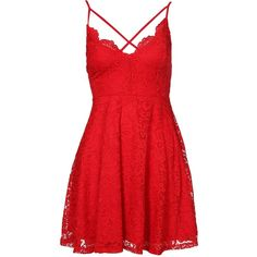 New Look Lace V Neck Cross Strap Front Skater Dress ($37) ❤ liked on Polyvore featuring dresses, stretch lace dress, v-neck dresses, red lace dress, lace dress and flared skirt