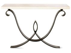 Courcelles Console Table - Forged steel with limestone top. Wall mounted Dimensions: h860 x w1200 x d350 (as pictured) or w1500 x d350 Finishes: Forged Steel with black wax polish