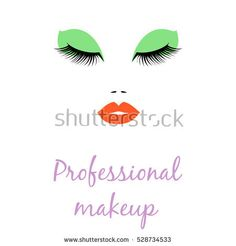 Woman face with red lips for Beauty Logo with sign professional makeup, symbol, icon for salon, spa salon, hairdressing, firm company or center. Vector illustration