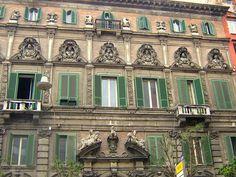 ღღ Napoli, Italy ~~~ In the Spaccanapoli neighborhood, at Piazza Bellini Italy Architecture, Southern Italy, Bellini, Travel Europe, Palaces, Naples, The Neighbourhood, Cities, Louvre
