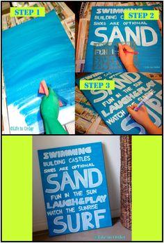 Beach themed canvas #DIY #quotes #beach #decor #paint #craft ----- want for my bathroom!!