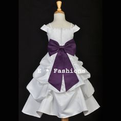 WHITE PLUM PURPLE FLOWER GIRL DRESS SPAGHETTI STRAP CAP SLEEVE we could yellow r blue bow