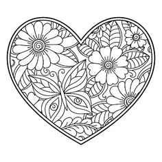 Mehndi flower pattern in form of heart with lotus for Henna drawing. - Mehndi flower pattern in form of heart with lotus for Henna drawing and tattoo. Heart Coloring Pages, Pattern Coloring Pages, Flower Coloring Pages, Mandala Coloring Pages, Colouring Pages, Printable Coloring Pages, Adult Coloring Pages, Coloring Books, Coloring Sheets