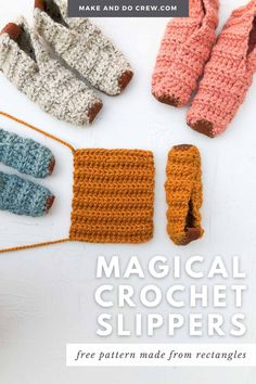 Learn how to crochet house shoes from simple rectangles in this easy video tutorial from Make & Do Crew. This beginner crochet project could not be simpler, but the end result is stunning and perfect for gift giving. Use Lion Brand Wool-Ease Thick & Quick or substitute ANY weight yarn for these super fast crochet slippers. Add a leather sole so that your slippers are non-slip. Follow along with the free pattern to crochet slippers for toddlers, kids, women and men! Crochet Slipper Pattern, Crochet Slippers, Crochet Blanket Patterns, Beginner Crochet Projects, Crochet For Beginners, Easy Beginner Crochet Patterns, Crochet Ideas, Fast Crochet, Make And Do Crew