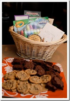 Welcome to the Neighborhood Basket Ideas:  chalk, bubbles, candle, cookies, brownies, take out menus