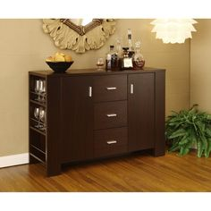 FurnitureMaxx Dining Room Server Sideboard Buffet , Cappuccino Finish : Wine Racks & Cabinets & Consoles