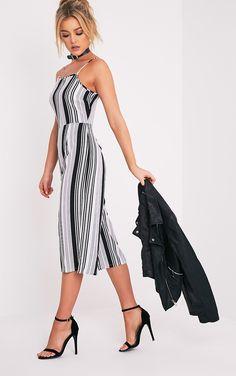 03a356e4c486 Penny Monochrome Stripe Culotte Jumpsuit Jumpsuit Images