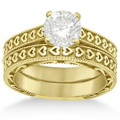 Carved Engagement Ring with Wedding Band Bridal Set in 14K Yellow Gold-Allurez.com