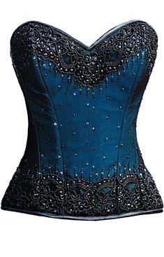 The Violet Vixen - Burlesque Glimmer Blue Beaded Corset, $174.00 (http://thevioletvixen.com/authentic-corsets/burlesque-glimmer-blue-beaded-corset/)