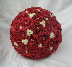 ARTIFICIAL FLOWERS RED/IVORY FOAM ROSE BRIDES WEDDING BOUQUET WITH DIAMANTES. Love these foam flowers