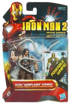 """Iron Man 2 Movie 4 Inch Action Figure #14 Ivan Whiplash Vanko Mickey Rourke by Hasbro. $12.95. Collect them all!. Ivan """"Whiplash"""" Vanko (figure #14) comes with poseable whips and 3 Armor Cards. For Ages 4 & Up. Iron Man 2 movie 3 3/4 inch action figure from Hasbro. Iron Man 2 movie 3 3/4 inch action figure from HasbroIvan """"Whiplash"""" Vanko (figure #14) comes with poseable whips and 3 Armor CardsCollect them all!For Ages 4 & Up"""