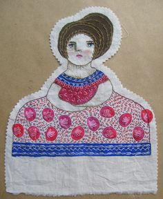 Enriqueta by María Tenorio, via Flickr Embroidery Works, Modern Embroidery, Embroidery Applique, Cross Stitch Embroidery, Paper Dolls, Art Dolls, Textiles, Vinyl Dolls, Soft Sculpture