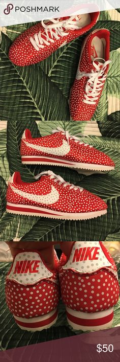 Nike Cortez' with polka dots Super cute pair of Nikes!! EUC, bottoms show almost no wear, outsides are in almost perfect condition. Insides have a couple of spots. Laces are not original, and they glow in the dark...Nike swoosh is white with gray polka dots. Nike Shoes Athletic Shoes