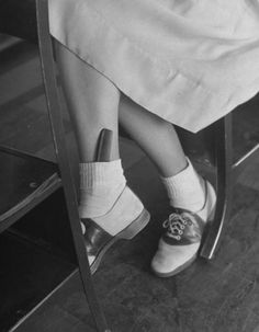 1940s saddle shoes, bobby socks, hair comb