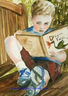 watercolor painting Boy Reading PRINT  by rachellelevingston, $12.00