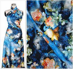 silk elastic satin fabric cotton rose in blue tone   by xoxoFabric, $26.00