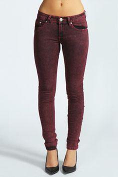 Bekka Acid Wash Skinny Jeans at boohoo.com